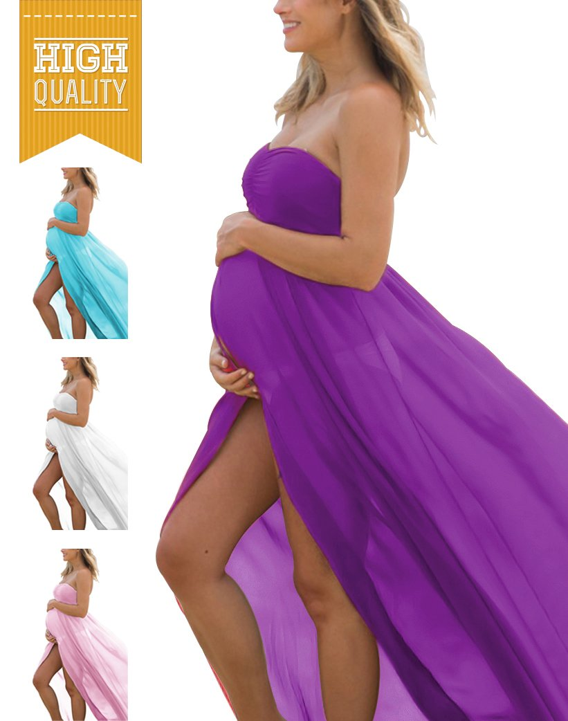 Women's Off Shoulder Strapless Maternity Dress for Photography Split Front Chiffon Gown for Photoshoot (A-Purple)