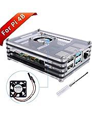 GeeekPi Cajas Acrílico para Raspberry Pi 4 Modelo B, Estuche Raspberry Pi 4B con Ventilador de Refrigeración y Destornillador para Raspberry Pi 4 Modelo B (Solo para Pi 4) (Negro y Claro)