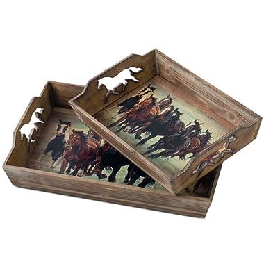Running Horses Serving Tray Set of 2
