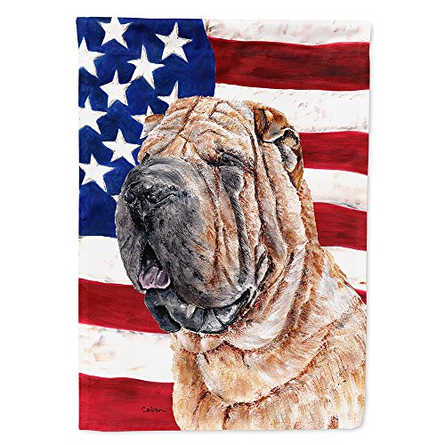Caroline's Treasures SC9623GF Shar Pei with American USA Flag, Small, Multicolor