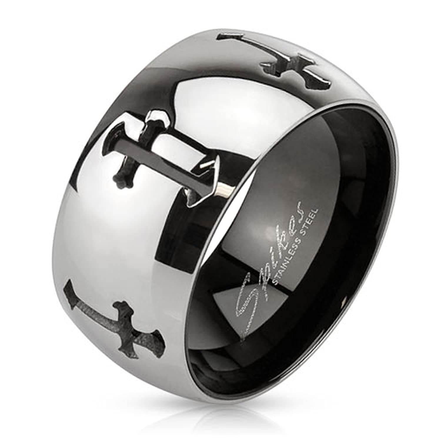 11mm High Polish Finish Laser Cut Multiple Cross Two Tone Stainless Steel Wedding Band