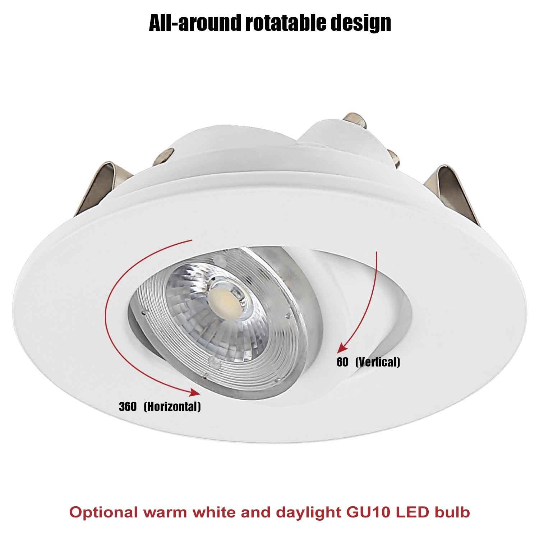 TORCHSTAR Recessed Lighting Kit: 3-Inch ETL-listed Airtight IC Housing + White Swivel Trim + LED Dimmable GU10 Light Bulb Warm White, Rotatable Spotlight, Decorative Retrofit Downlight, Pack of 6 by TORCHSTAR (Image #4)