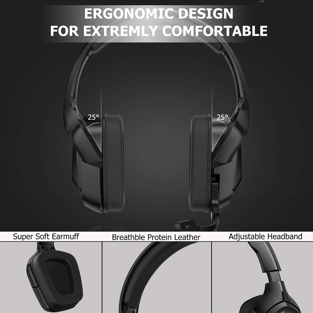 ergonomic cool RGB headphones for the PS4 Xbox One PC Yissma 4D Gaming Headset with Noise Canceling Microphone and Volume Control Lightweight