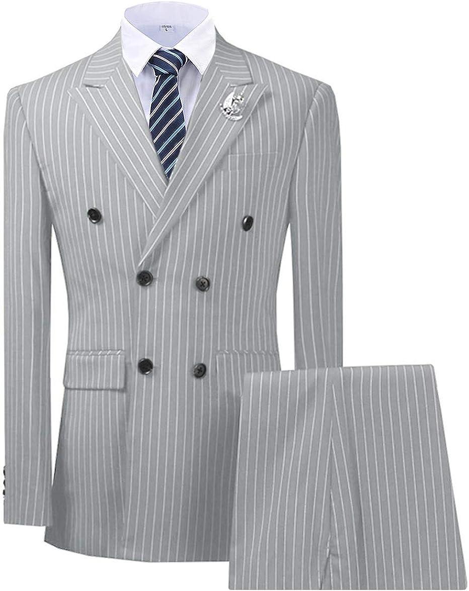 TeaHutty Men's Suits 3 Pieces Pinstripe Slim Fit Tuxedos Formal Business Blazer for Wedding Groomsmen(Jacket+Vest+Pants)