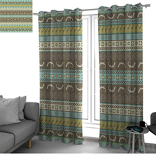 bybyhome African Decorations Collection Thermal Insulated Blackout Curtains Native African Ethnic Horizontal Patterns with Folk Figures Wilderness Heritage Country Curtain Brown Green W96 x L84 Inch