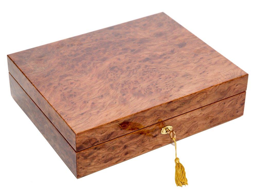 Bello Collezioni - Via Luciano Luxury Briarwood Men's/Women's 10 Watch Box. Made in Italy