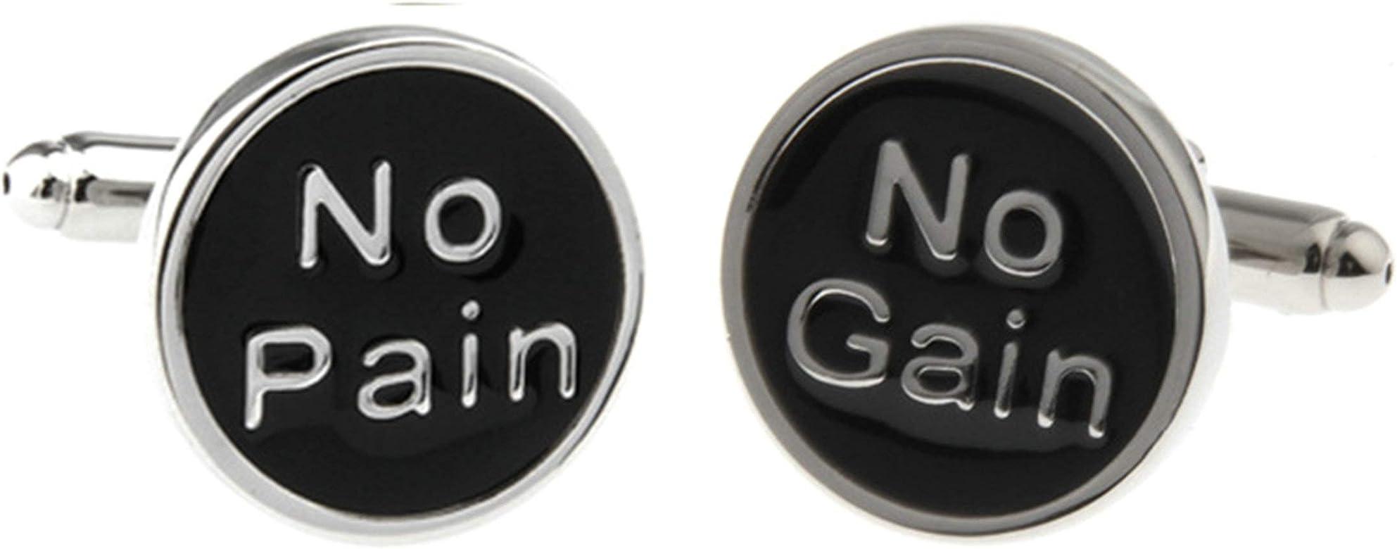 Aeici Gemelos Camisa Personalizados Gemelos Camisa Hombre Boda No Pain, No Gain Gemelos Novio Plata Negra: Amazon.es: Joyería