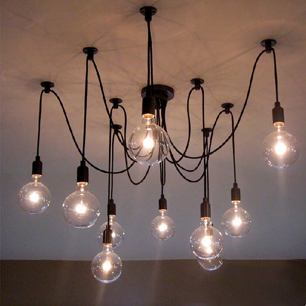 NAVIMC Black Vintage Industrial Pendant Light Fixtures Home Ceiling Light Chandeliers Lighting,Edsion Style (10 Lampholders)