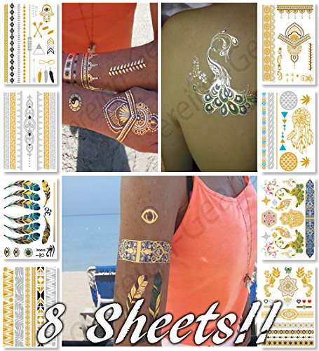 [Metallic Temporary Tattoos for Women Teens Girls - 8 Sheets Gold Silver Temporary Tattoos Glitter Tattoo Designs Jewelry Tattoos - 100+ Color Flash Fake Waterproof Tattoo Stickers] (Flame Hair Costume)