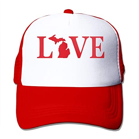 Sombreros de Malla Unisex Love Text Michigan Map Gorra Ajustable ...