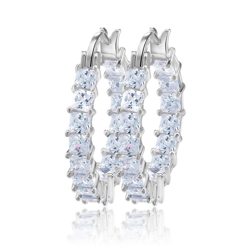 Dividiamonds 18k White Gold Plated 5mm Princess Cut Cubic Zirconia Inside Out Round Small Hoop Earrings