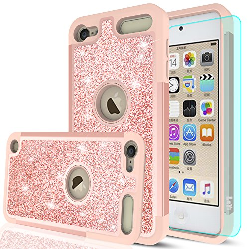 iPod Touch 6 Case, iPod Touch 5 Case with HD Screen Protector,LeYi Glitter Bling Girls Wome Dual Layer Heavy Duty Protective Phone Case for Apple iPod Touch 6th / 5th Generation TP Rose Gold - Girl Bezel