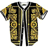 Pizoff Short Sleeve Arc Bottom Baseball Team Jersey 3D All Over Luxury Gold Baroque Floral Print Basketball Shirt Hip Hop Dance V-Neck Button Down Tops Y1724-66-S