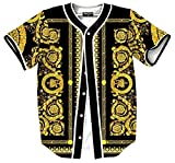 Pizoff Short Sleeve Arc Bottom Baseball Team Jersey 3D All Over Luxury Gold Baroque Floral Print Basketball Shirt Hip Hop Dance V-Neck Button Down Tops Y1724-66-L