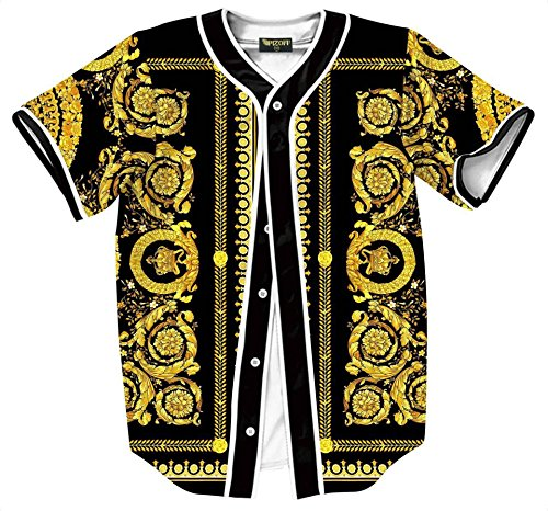 Pizoff Short Sleeve Arc Bottom Baseball Team Jersey 3D All Over Luxury Gold Baroque Floral Print Basketball Shirt Hip Hop Dance V-Neck Button Down Tops Y1724-66-L by Pizoff
