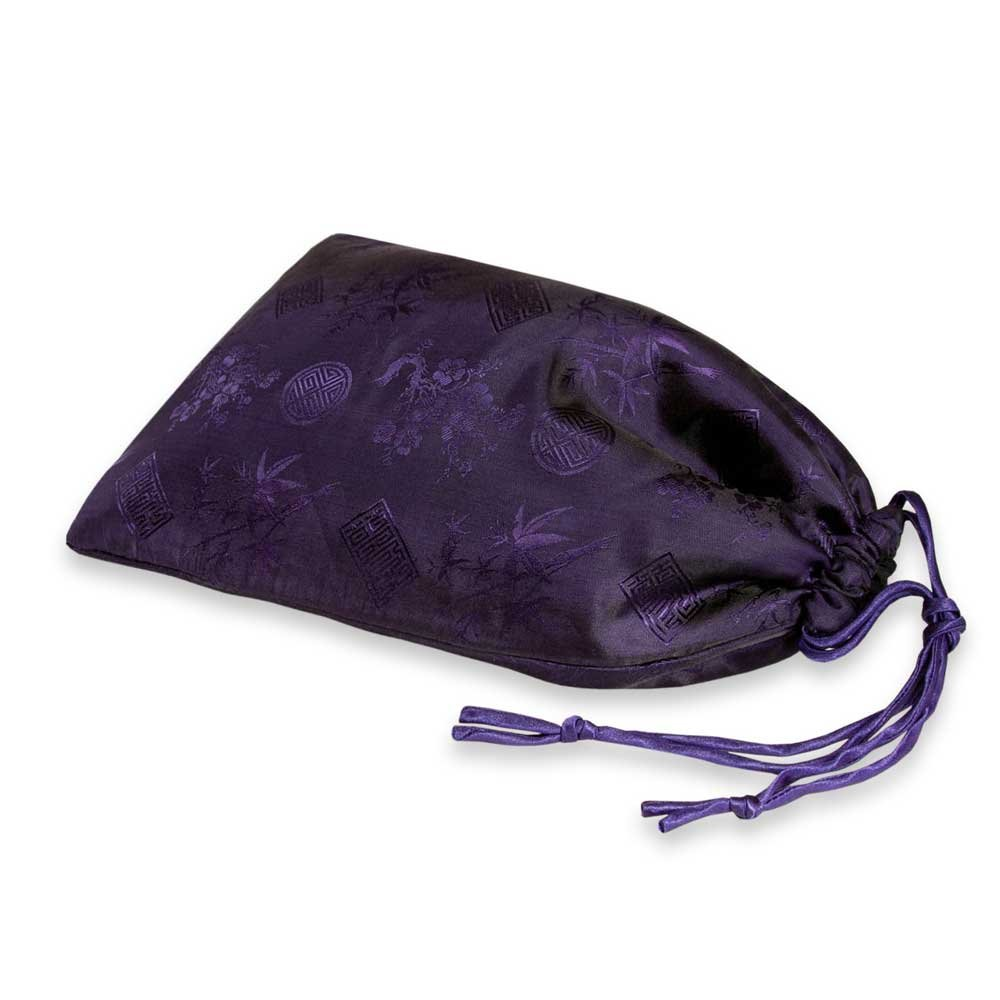 Red Blossom Shoe Pouch - Silk Jacquard (Deep Purple),14.5''L x 9''W