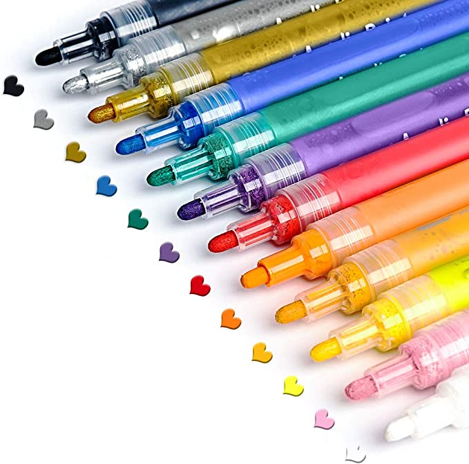 Craft Markers for Rock Painting Mug Black Paper Canvas Wood Glass Gel Paint Marker Pens Metallic: Paint Pen Set of 10 Colors Scrapbooking Card Making Albums School Supplies for Kids Adults