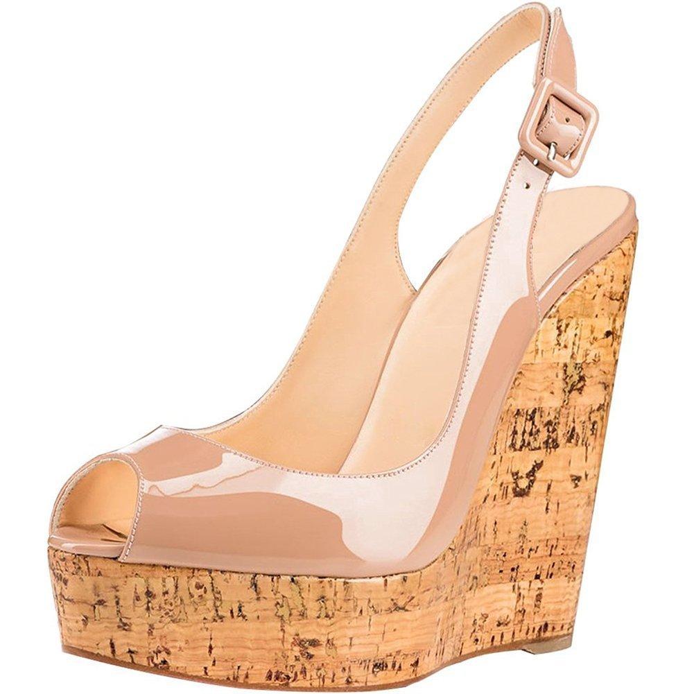 Mermaid Women's Shoes Peep-Toe Patent Leather Sling-Back Wedge Heeled Platform Sandals B07D625RDF US 5 Feet length 8.73