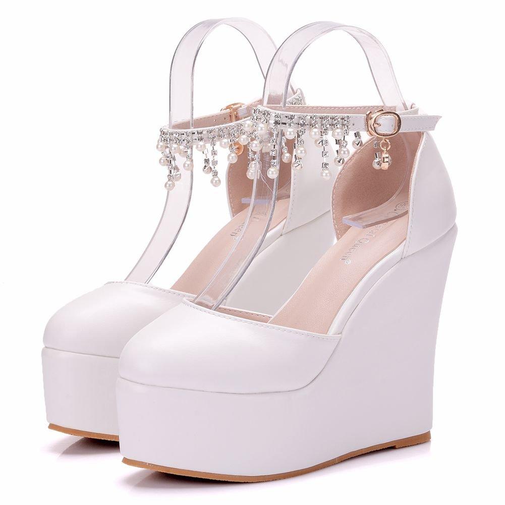Zapatos de Mujer Zapatos Finos 13cm Pendiente con Abalorios de Strass Boda Nupcial una Palabra Impermeable Hebilla de Tacón de Plataforma 37 EU|Light Pink Pearl Chain