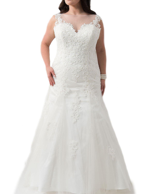 Weddingdazzle Plus Size Wedding Dress 2018 For Bride Lace Appliques