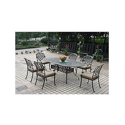 Excellent Amazon Com Cast Aluminum Patio Furniture Elisabeth 7Pc Theyellowbook Wood Chair Design Ideas Theyellowbookinfo