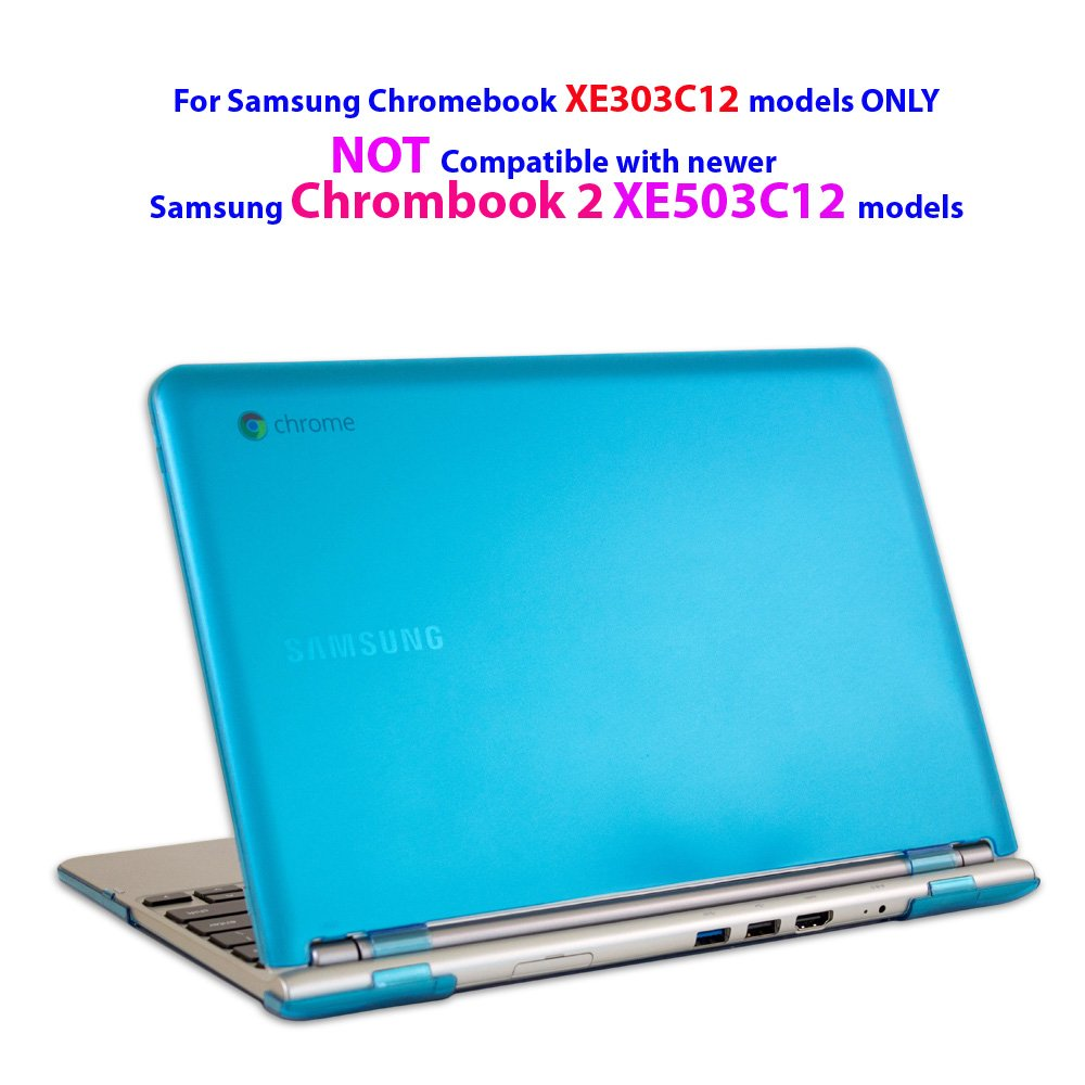 """iPearl mCover Hard Shell Case for 11.6"""" Samsung XE303C12 series Chromebook (Wi-Fi or 3G) laptop (Not Compatible with Samsung Chrombook 2 XE503C12 / XE500C12 and Samsung Chromebook 3 XE500C13) - AQUA"""