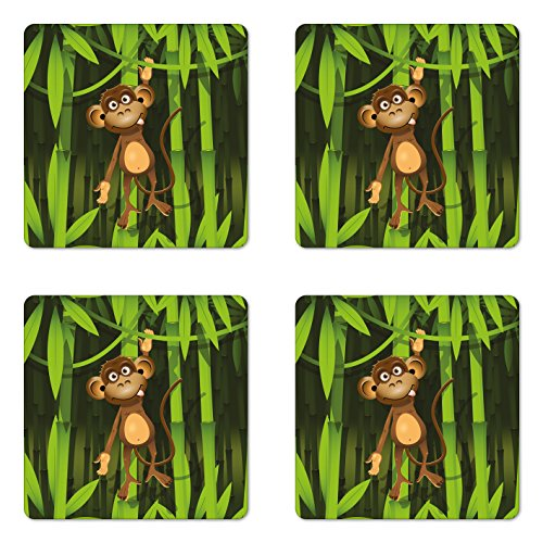 Ambesonne Jungle Coaster Set of 4, Wildlife Theme with Illustration of a Monkey in the Jungle Print, Square Hardboard Gloss Coasters for Drinks, Brown and Fern Green