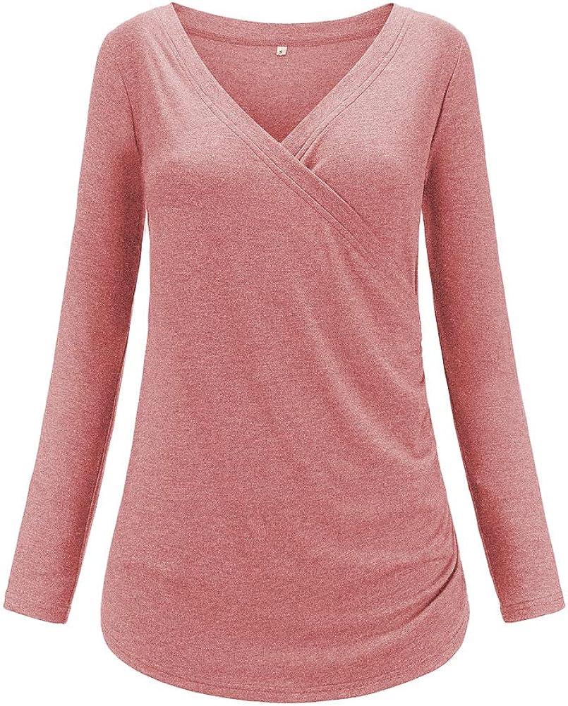 Liu /& Qu Women/'s Maternity Long Sleeve Nursing Top Cross V Neck Side Ruched Breastfeeding Shirt