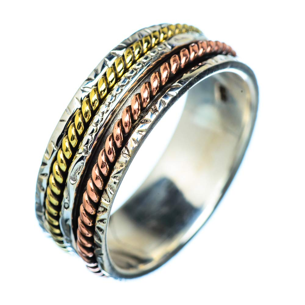 - Handmade Jewelry 925 Sterling Silver Bohemian Vintage RING939808 Ana Silver Co Meditation Spinner Ring Size 10.75