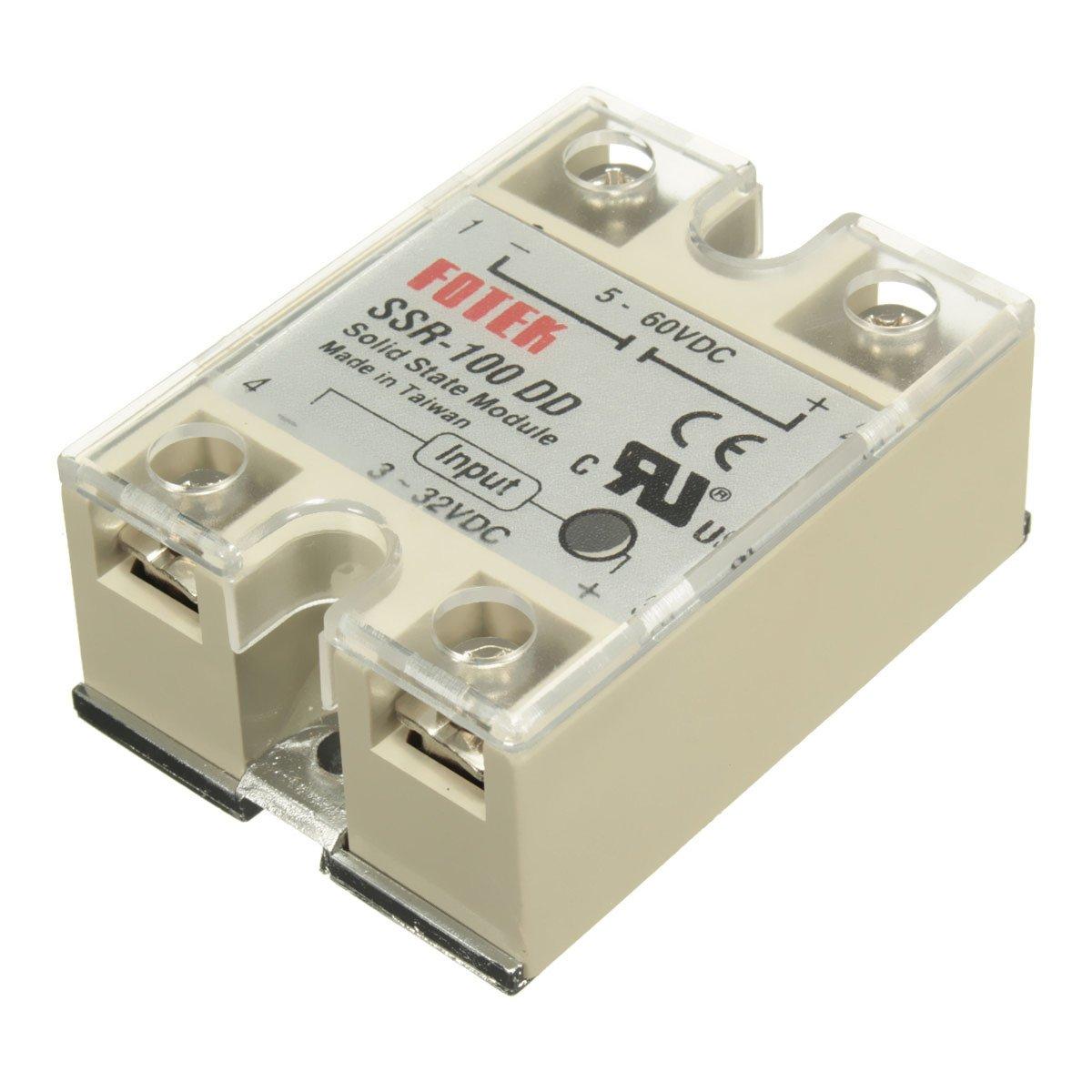 MASUNN Ssr-100 DD M/ódulo De Estado S/ólido Rel/é DC-DC 100A 3-32V Dc//5-60V DC