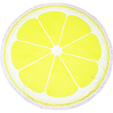 Microfiber Round Beach Towel Blanket-2019 New Oversized Thick High Colour Fastness Super Water Absorbent Large Beach Towels 62 Inches Great Gift Idea Yellow Orange Lemon