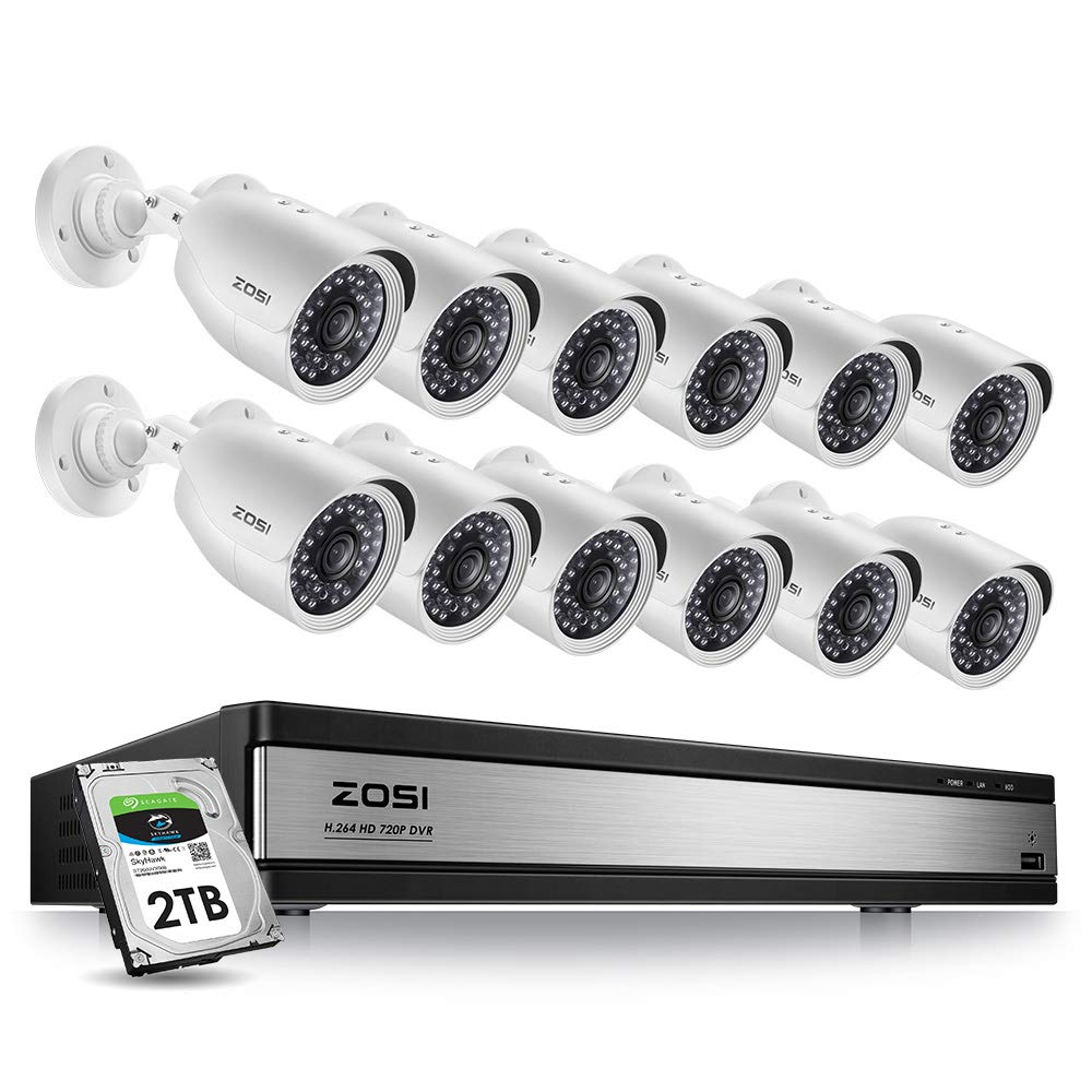 ZOSI 1080p Security Camera System 16 Channel with Hard Drive 2TB, 16 Channel 1080N/720p Hybrid DVR Recorder and 12 x 1080p Surveillance CCTV Bullet Camera Outdoor Indoor with Day Night Vision by ZOSI