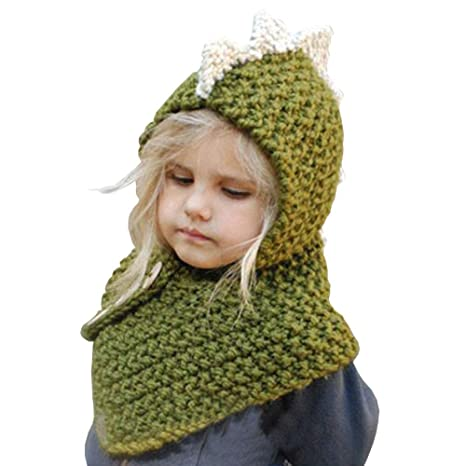 b87a45686 Amazon.com: Lanburch Cute Girls Boys Baby Warm Knit Hat Winter Knitting  Hats Knitted Hood Scarf Beanies, Dinosaur Green: Sports & Outdoors