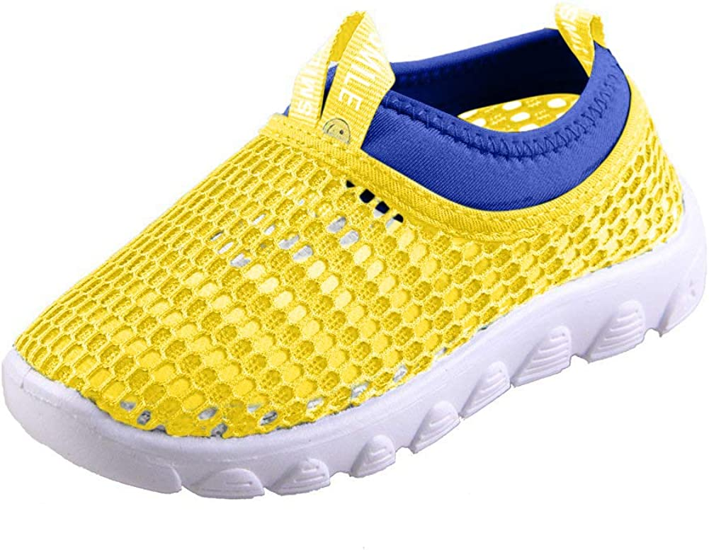 CIOR Toddler Kids Water Shoes Breathable Mesh Running Sneakers Sandals for Boys Girls Running Pool BeachU118STWX001,Yellow,34