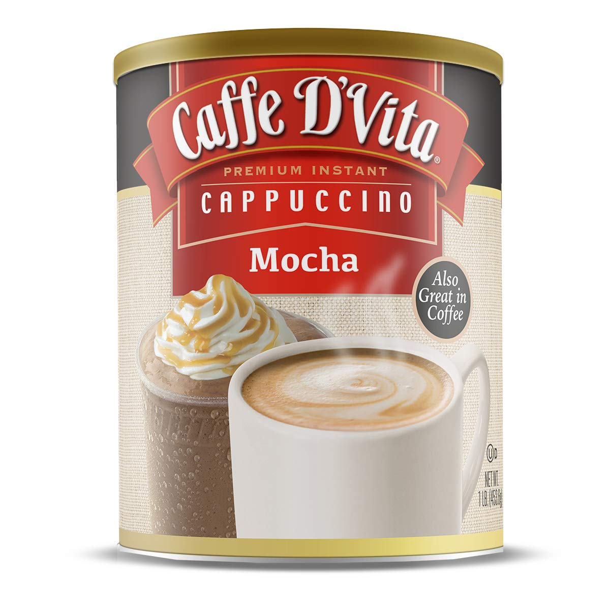 Caffe D'Vita Mocha Instant Cappuccino Mix / Powder - Pack of 6 - 1 lb. cans (16 oz.)