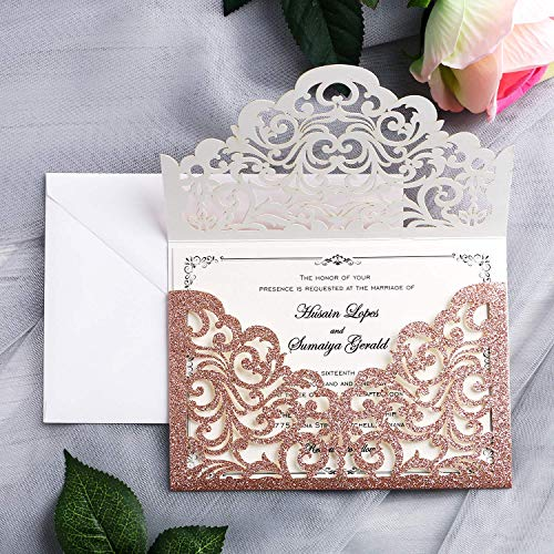 YIMIL 20 Pcs Laser Cut Wedding Invitation Card with Envelope for Wedding Quinceanera Bridal Shower Baby Shower Party Invite (Rose Gold Glitter)