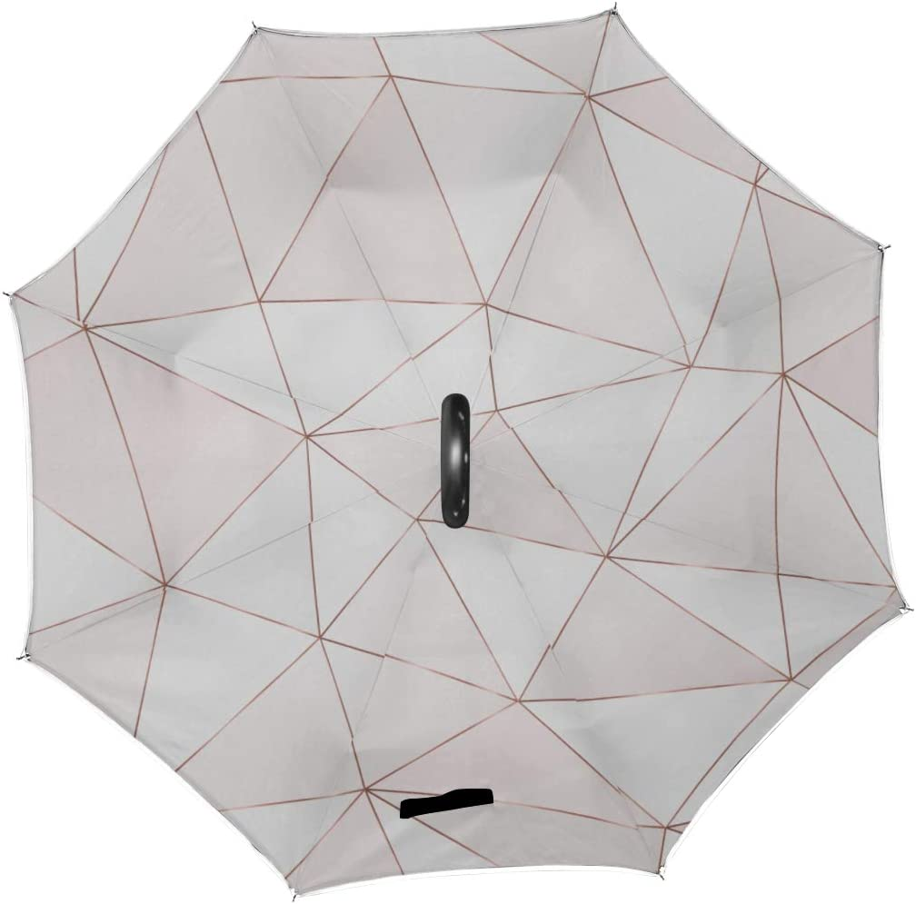 Double Layer Inverted Inverted Umbrella Is Light And Sturdy Rose Gold Polygonal Pattern Triangle Reverse Umbrella And Windproof Umbrella Edge Night R