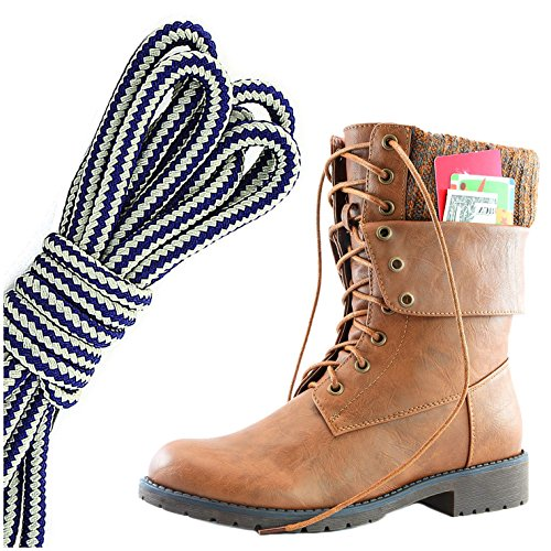 DailyShoes Womens Military Lace Up Buckle Combat Boots Ankle Mid Calf Fold-Down Exclusive Credit Card Pocket, Navy Blue White Tan Pu