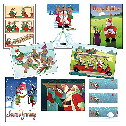 Box Set of Golf Christmas Card Variety Pack 24 Cards & Envelopes - Funny Holiday Golf Cards