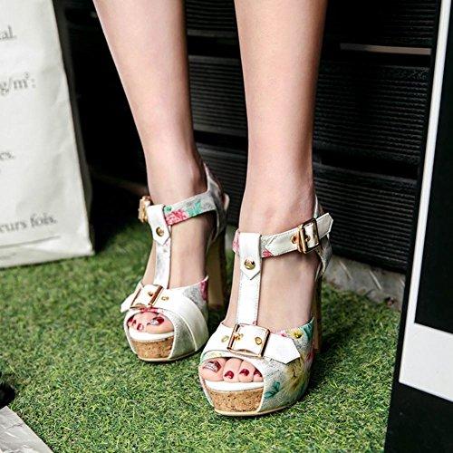 Mee Shoes Damen High Heels Plateau Peep Toe Sandalen Weiß
