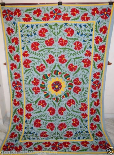 Embroidered Suzani Hand Vintage Quilt Twin Bedding Blanket Bohemian Throw SZ04 by Handmade