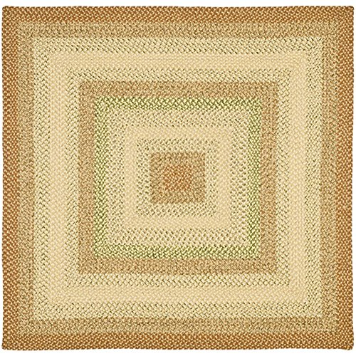 Safavieh Braided Collection BRD303A Hand Woven Rust and Multi Square Area Rug (8' Square) - 8' Cotton Braided Rug