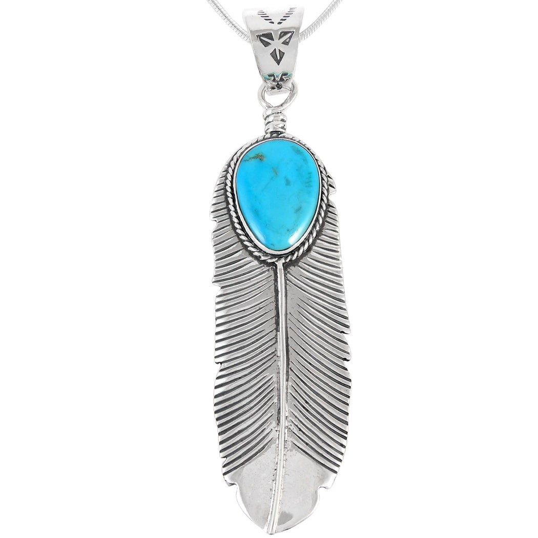 Turquoise Pendant Necklace in Sterling Silver (SELECT from different styles) (Large Feather)