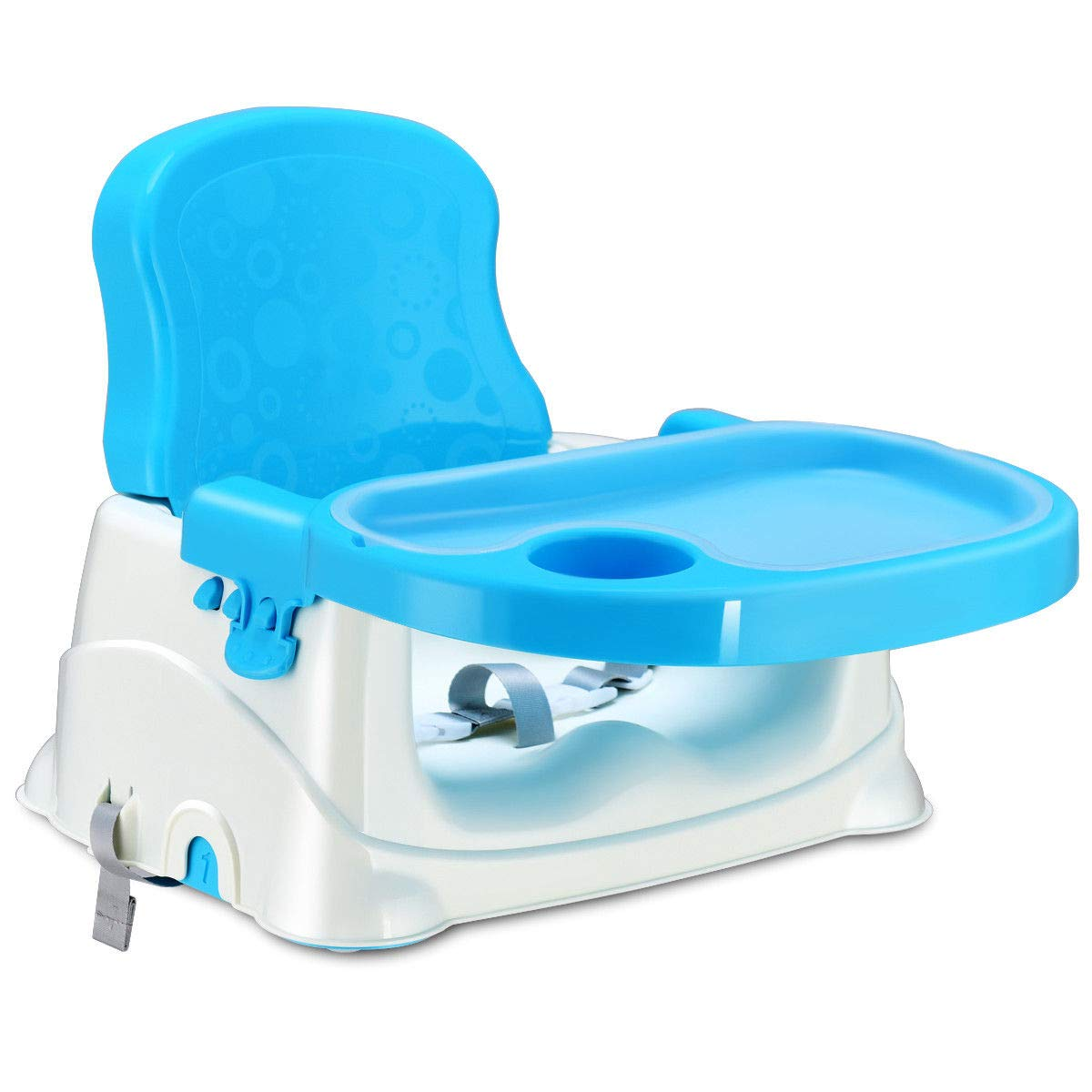 Costzon 2 in 1 Chair Booster Seat for Baby Infant, Portable Adjustable W/Tray Cup Holder Safety Belt, Toddler Feeding Floor Seat (Blue)