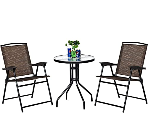 Goplus 3 Piece Bistro Set All Weather Patio Furniture Indoor Outdoor Garden Round Table and Folding Chair