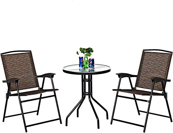 Amazon Com Goplus 3 Piece Bistro Set All Weather Patio Furniture Indoor Outdoor Garden Round Table And Folding Chairs Garden Outdoor