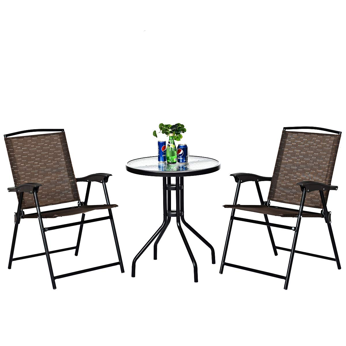 Goplus 3 Piece Bistro Set All Weather Patio Furniture Indoor Outdoor Garden Round Table and Folding Chairs