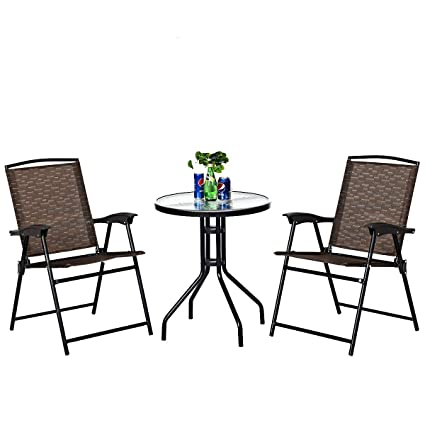 Marvelous Goplus 3 Piece Bistro Set All Weather Patio Furniture Indoor Outdoor Garden Round Table And Folding Chairs Andrewgaddart Wooden Chair Designs For Living Room Andrewgaddartcom