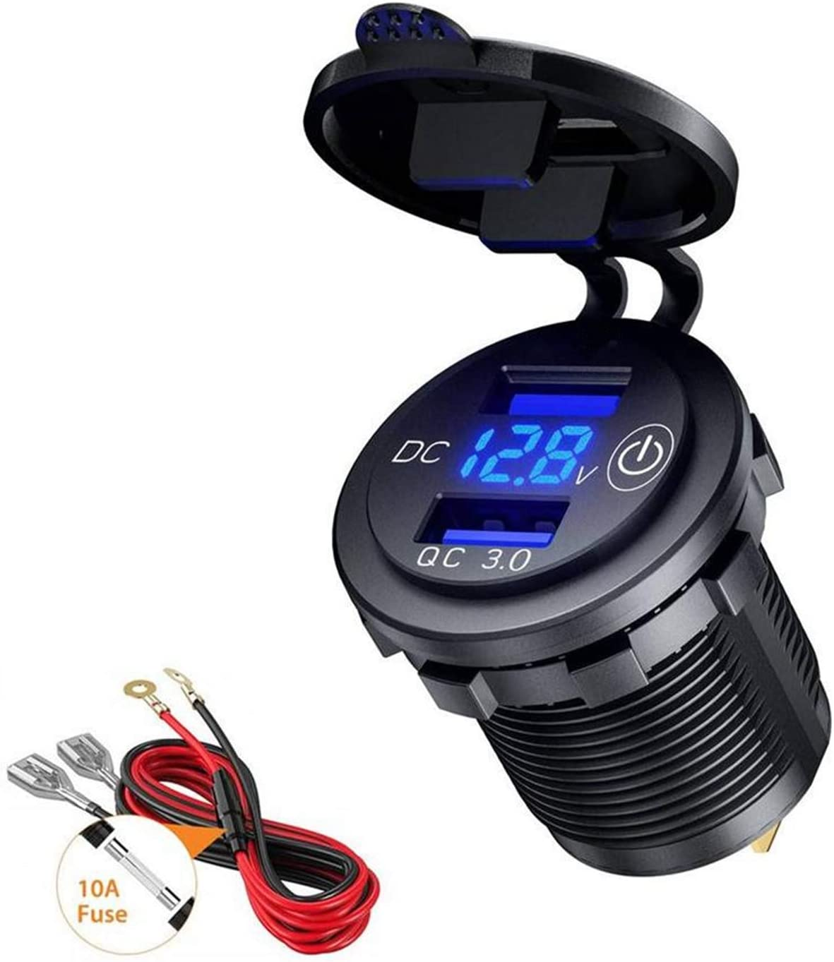 Thlevel QC 3.0 USB Cargador de Coche Doble Puerto con Voltímetro LED y Interruptor Táctil - Cargador Móvil Coche con Carga Rápida 12V / 24V - para Adaptador Cargador para Coches, Motos o Barco