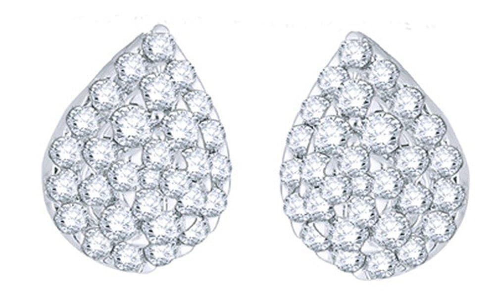 Weißszlig;, Tropfen-Ohrringe 14 Karat 585 Weißszlig;Gold Diamant (2 Karat) 14 Karat (585) WeißGold
